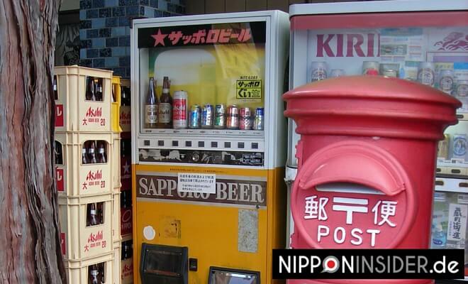 Getränkeautomaten in Japan mit Bier gefüllt