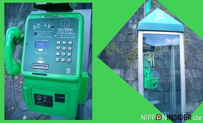 Öffentliches Telefon in Japan, Quitsch-grün und grüne Telefonzelle