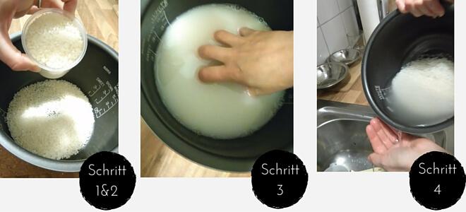 Schritte 1bis 4 der Schritt-für-Schritt-Anleitung in Bildern dargestellt