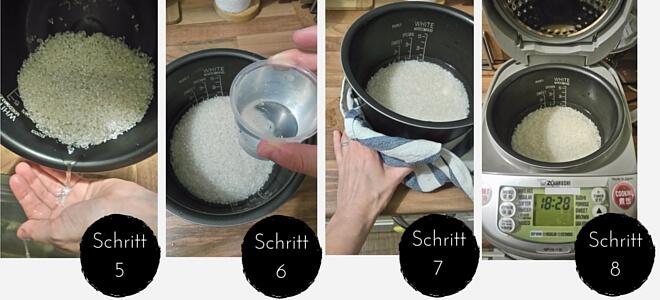 Schritte 5 bis 8 der Schritt-für-Schritt-Anleitung in Bildern dargestellt