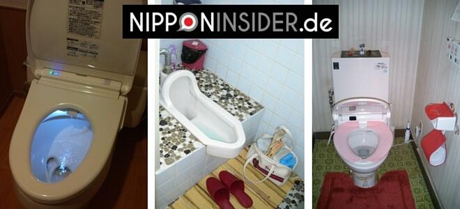 3 japanische Toiletten: beleuchtet, Hocktoilette mit WC-Schlappen und japanische Toilette mit Stoffauflage und Bedienung über Knöpfe