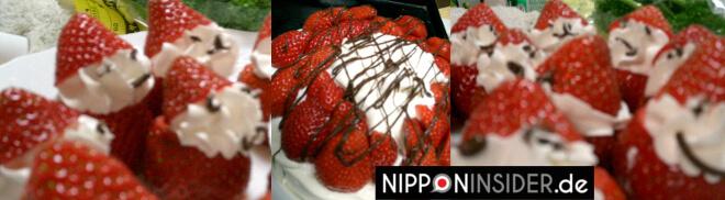 Weihnachten in Japan: mit Erdbeertorte und Erdbeeren zu Weihnachtsmännern gemacht