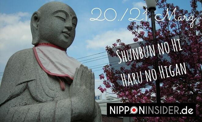 Frühling in Japan beginnt mit dem Shunbun no Hi und der Zeit Haru no Higan: Bild zeigt betenden Buddha im Frühling zur Kirschblütenzeit