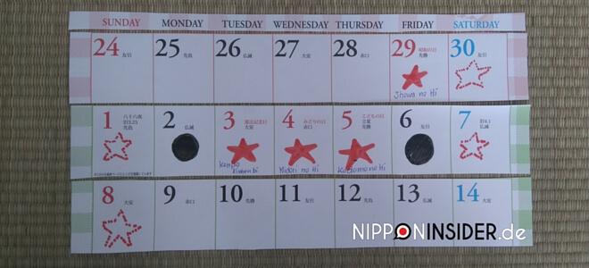 Bild: japanische Feiertage im Kalender eingetragen: Showa no Hi, japanischer Feiertag am 29. April zum Gedenken an die Showa Zeit in Japan | Nipponinsider