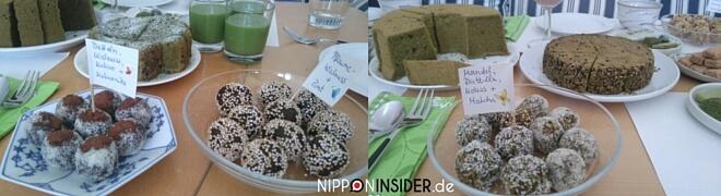 Viele Kuchen und Desserts mit Matcha bei der Matchaverkostung | nipponinsider