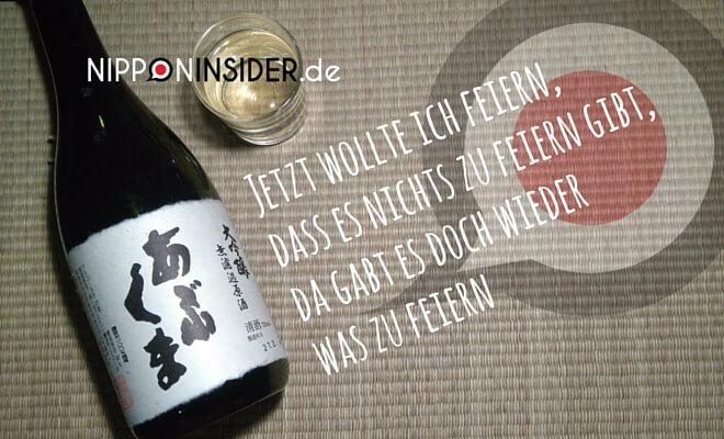 Sake mit Glas auf Tatami - Jetzt wollte ich feiern, dass es nichts zu feiern gibt, da gab es doch wieder was zu feiern. Nipponinsider Japanblog