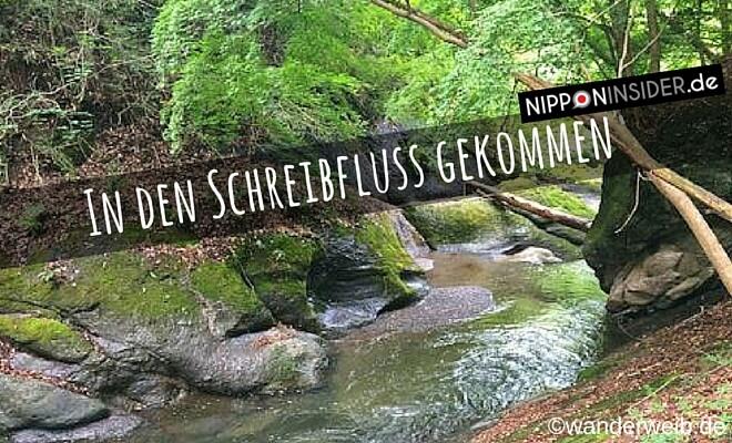 Titelüberschrift: In den Schreibfluss gekommen - Bild von einem kleinen Bach, Nebenfluss des Fujigawa auf Nipponinsider