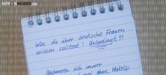 Notizblock mit einer Liste über deutsche Frauen | Nipponinsider Japanblog