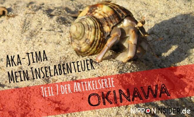 Allein mit dem Fahrrad nach Aka-jima / Okinawa. Bild einer Krabbe im Sand mit dem Titel: Akajima Mein Inselabenteuer. Teil 7 der Artikelreihe OKINAWA | Nipponinsider