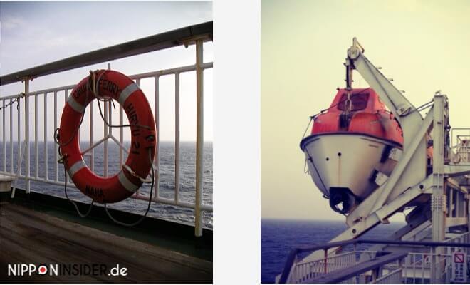 Nach Okinawa reisen mal anders: auf dem Containerschiff. Rettungsring mit der Aufschrift Naha und ein Beiboot | Nipponinsider