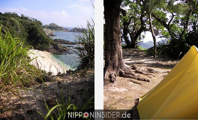 Der Blick auf die Bucht auf Akajima / Okinawa, Japan und mein kleines gelbes Zelt an einem Platz unter Bäumen. | Nipponinsidera