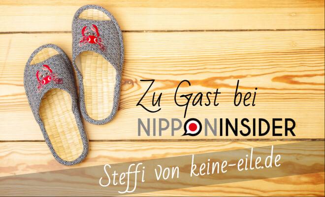 Zu Gast bei Nipponinsider: Steffi von keine-eile.de. Bild: Japanische Gästepantoffel. Beitrag zum Blogwichteln 2016 auf Nipponinsider