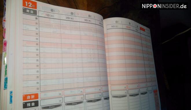 Wochenübersicht im japanischen Haushaltsbuch | Nipponinsider