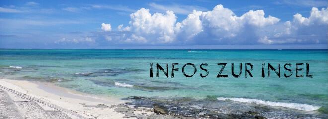Inselbild mit Meer und Strand. Text: Infos zur Insel