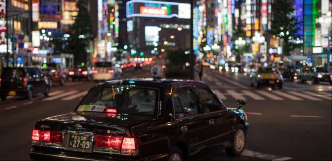 Taxi in Tokyo bei Nacht