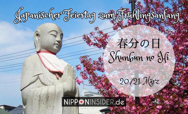 Frühling in Japan beginnt am 20./21. März mit dem Shunbun no Hi und der Zeit Haru no Higan: Bild zeigt betenden Buddha im Frühling zur Kirschblütenzeit | Nipponinsider