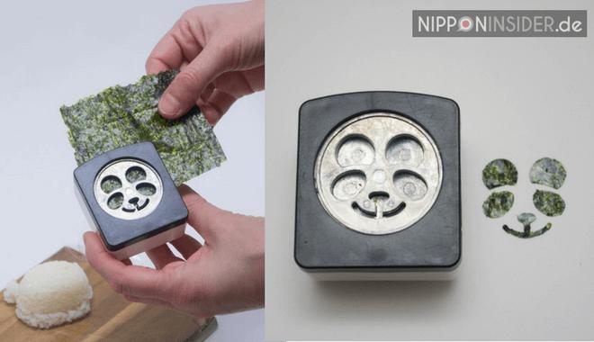 Stanzwerkzeug für die Details: Aus einem Nori-Blatt werden die Ohren, Nase, Mund und Augen für den Panda gestanzt.