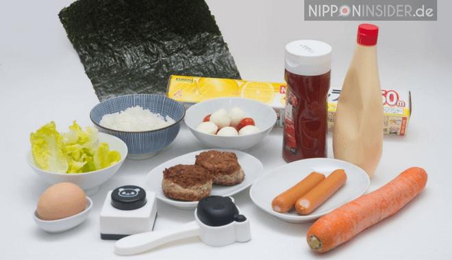 Die Zutaten für meine Charaben: Nori, Reis, Salan-Wrap, Mayonnaise, Ketchup, Frikadellen, Würstchen, eine Karotte, Salat und ein Ei
