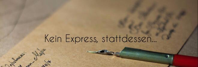 Japanische Hochzeit - Kein Express, stattdessen... Bild: Briefumschlag mit Füllfederhalter