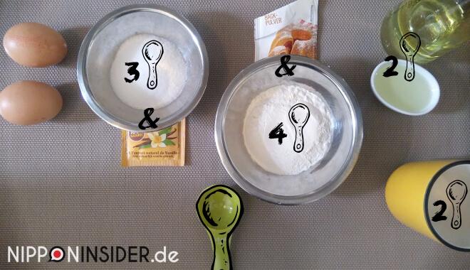 Bild von Zutaten für den japanischen Kuchen im Reiskocher backen: 2 Eier, Zucker, Mehl, Öl, Tasse und Messlöffel | Nipponinsider