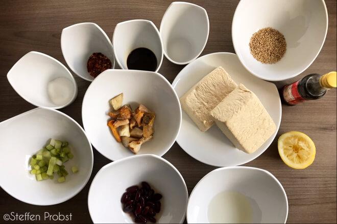 Zutaten für Seidentofu-Rezept im Dampfgarer ©Steffen Probst