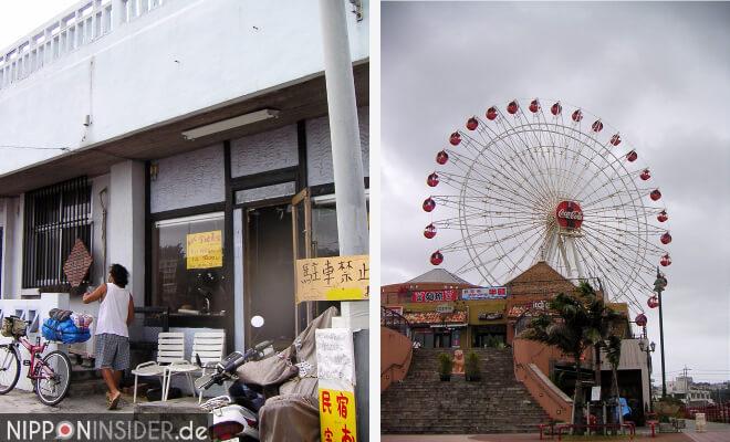 Okinawa-Bild vom Oyado in Ujibaru und einem Riesenrad mit CocaCola Werbung in Chatan | Nipponinsider Japanblog