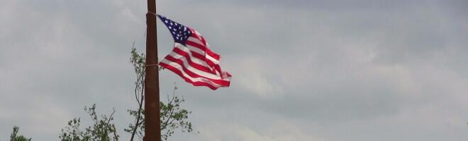 Amerikanische Flagge im Wind