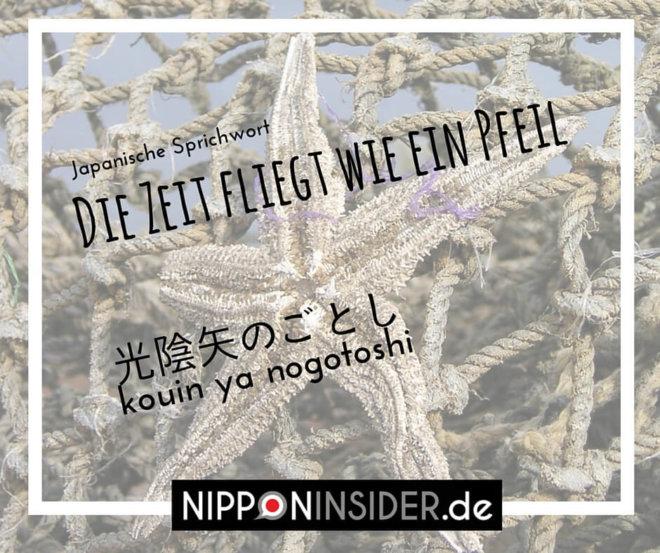 Japanisches Sprichwort: Die Zeit fliegt wie ein Pfeil. Kouin ya nogotoshi 光陰矢のごとし | Nipponinsider
