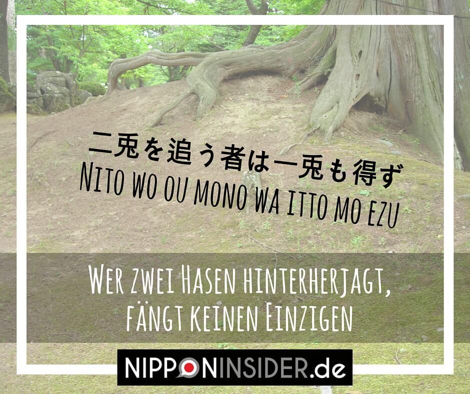 Japanisches Sprichwort: Nito wo ou mono wa itto mo ezu 二兎を追う者は一兎をも得ず | NIpponinsider