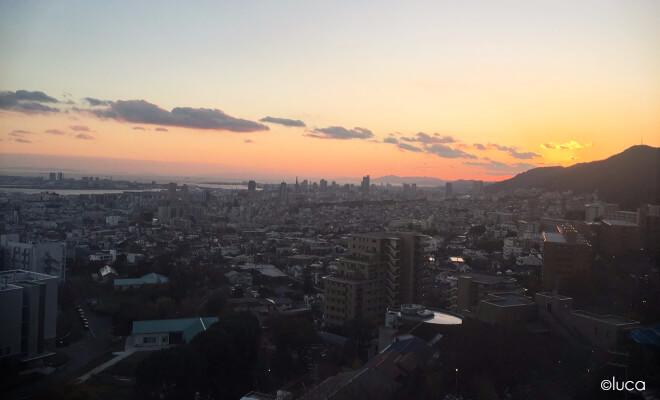 Sonnenuntergang mit Blick auf Kobe