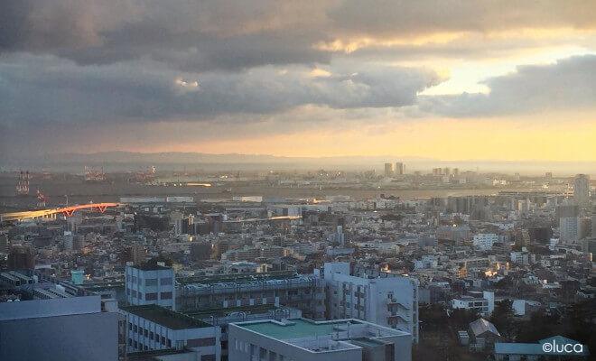 Blick auf die japanische Stadt Kobe von der Uni aus