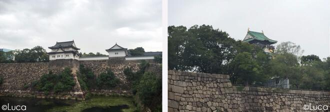 Burg von Osaka aus zwei Perspektiven mit der hohen Burgmauer im Vordergrund
