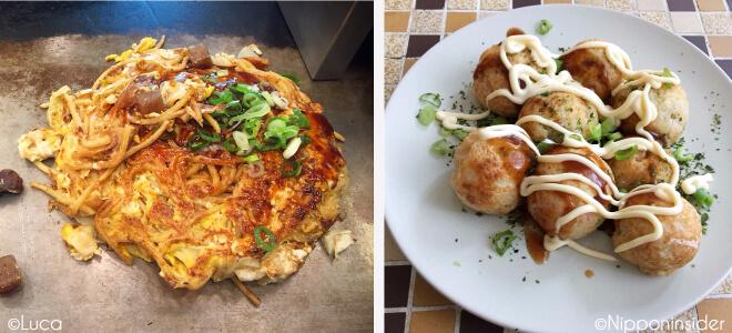 Bild links: Okonomiyaki | Bild rechts: Takoyaki