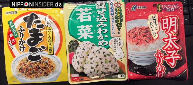 Japanisches Gewürz; Furikake. Drei Pakung mit unterschiedlichen Geschmacksrichtungen: Eier, Seetang und Fischeier | Nipponinsider