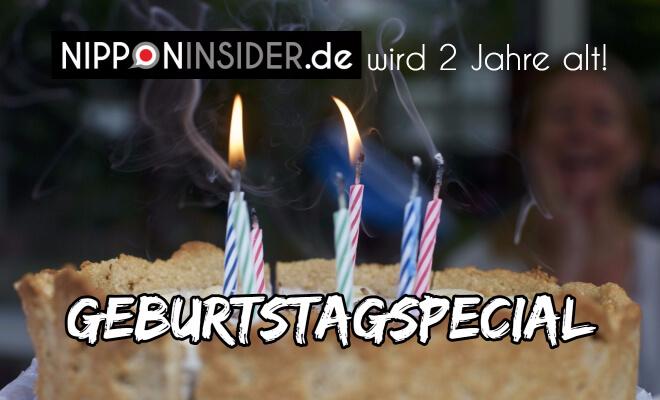 Text: Nipponinsider.de wird 2 Jahre alt! Geburtstagsspecial. Bild: Geburtstagskuchen mit 2 brennenden Kerzen