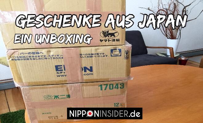 Geschenke aus Japan | Ein Unboxing. Bild von drei aufeinander gestapelten Kartons | Nipponinsider
