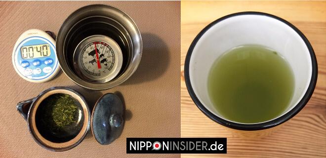 Zeitmesser, Temperaturmesser im Thermobecher, Japanische Teekanne und Ergebins: grüner Tee in einer Tasse | Nipponinsider