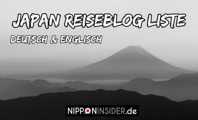 Japan Reiseblog Liste in Deutsch und Englisch. Schwarzweiß Bild vom Fujisan | Logo Nipponinsider