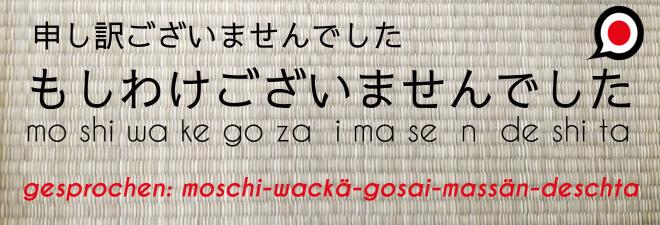 Entschuldigung auf Jpaanisch: #11 moshiwake gozaimasen deshita. Text auf Japanisch