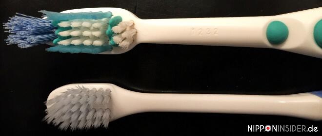 Zahnbürste aus Deutschland OBEN und japanische Zahnbürste UNTEN im Vergleich | Nipponinsider