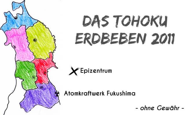 Handgezeichnete Karte von Tohoku mit Epizentrum des Erdbebens 2011 und Atomkraftwerk Fukushima | Nipponinsider Japanblog