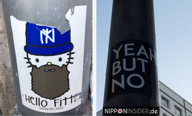 Aufkleber in Berlin mit Japanbezug. Hello Kitty wird da zu Hello Fitty | Nipponinsider