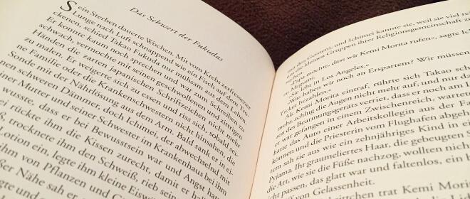 Aufgeschlagene Seite des Buches Der japanische Liebhaber von Isabel Allende | Nipponinsider
