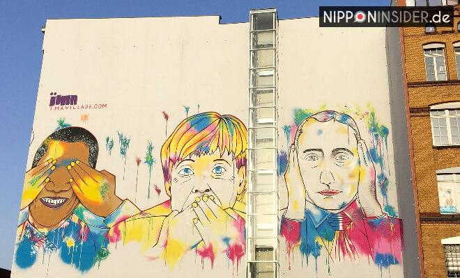 Graffiti an der Ritterstraße in Berlin. Obama, Merkel und Putin | Nipponinsider