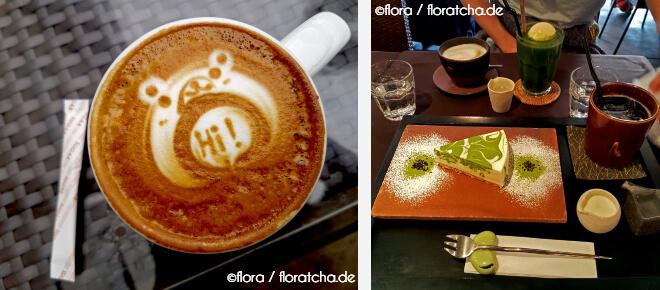 Japanischer Kaffee mit süßer Dekoration und ein Matchakuchen toll verziert. Liebe zum Detail in Japan