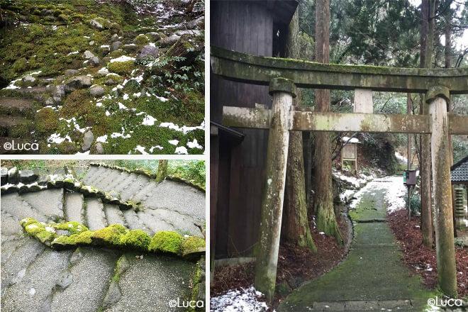 Yamanaka Wege auf denen noch Schnee liegt
