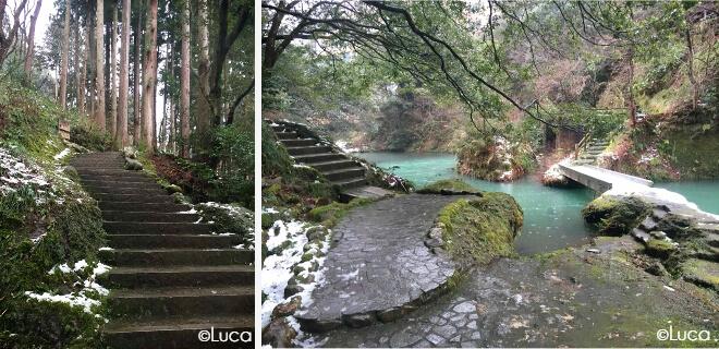 Yamanaka Fluss und Wanderwege in Form von alten Stein-Treppen