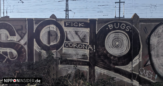 Fick Corona Graffiti am Schwedter Steg, beliebter Sakura Spot in Berlin