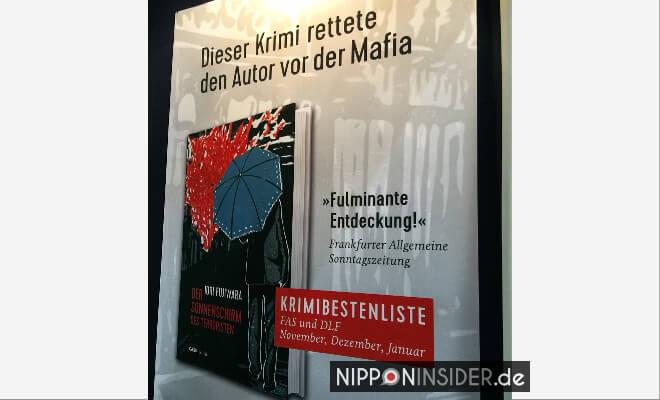 Der Regenschirm des Terroristen. Plakatwerbung Neuerscheinungen auf der Leipziger Buchmesse 2018 | Nipponinsider