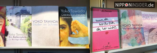 Tawada Yoko mehrere Buchtitel im Regal auf der Leipziger Buchmesse 2018 | Nipponinsider